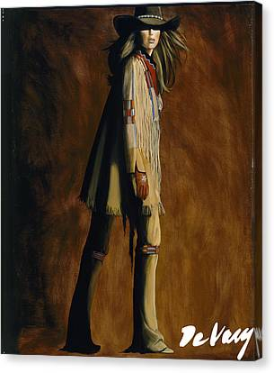 Arizona Contemporary Cowgirl Canvas Print - Buckle Up by David DeVary