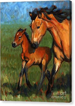 Buckskin And Baby Canvas Print by Pat Burns
