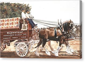 Bud Wagon And Horses Canvas Print