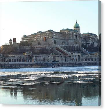 Buda Castle By Icy Danube  Canvas Print