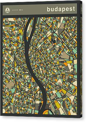 Budapest City Map Canvas Print