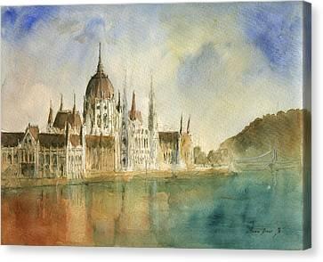 Budapest Cityscape Canvas Print by Juan Bosco