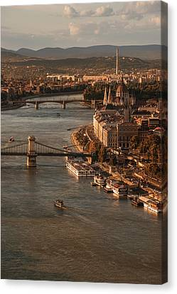 Canvas Print featuring the photograph Budapest In The Morning Sun by Jaroslaw Blaminsky