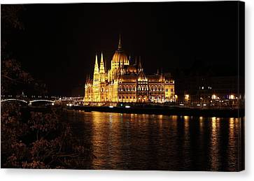 Canvas Print featuring the digital art Budapest - Parliament by Pat Speirs