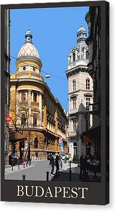 Budapest Poster - Domed Corner Towers Canvas Print by James Dougherty