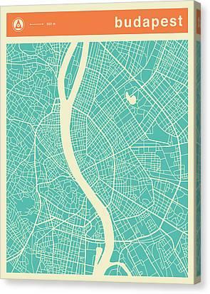 Budapest Street Map Canvas Print