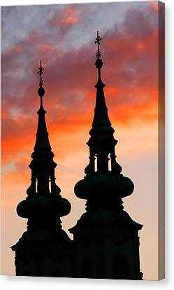 Canvas Print featuring the photograph Budapest Sunset by KG Thienemann