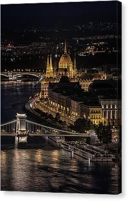 Budapest View At Night Canvas Print by Jaroslaw Blaminsky