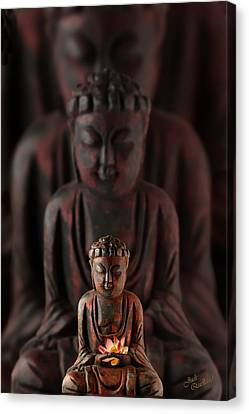 Buddah With Lotus Flower Canvas Print