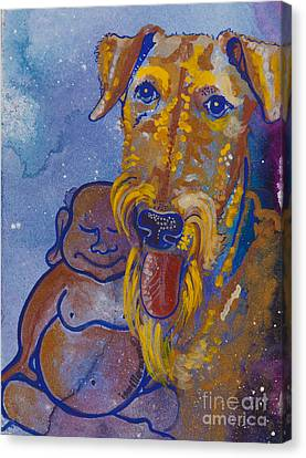 Buddha And The Divine Airedale No. 1332 Canvas Print by Ilisa Millermoon