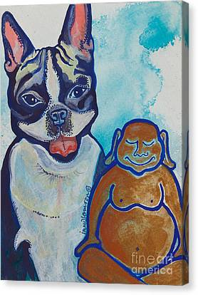 Buddha And The Divine Boston Terrier No. 1331 Canvas Print by Ilisa Millermoon