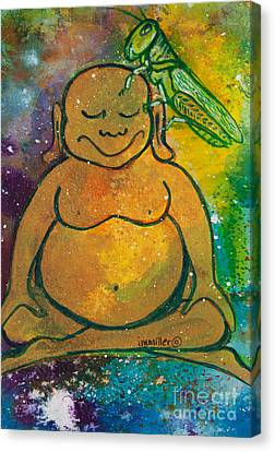 Buddha And The Divine Grasshopper No. 1309 Canvas Print by Ilisa Millermoon