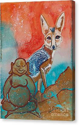 Buddha And The Divine Kit Fox No. 1373 Canvas Print by Ilisa Millermoon