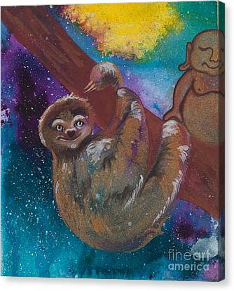 Buddha And The Divine Sloth No. 2087 Canvas Print
