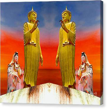 Buddha And Quan Yin Asian Gods Canvas Print