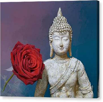 Buddha And Rose Canvas Print