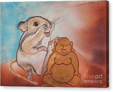 Gerbil Canvas Print - Buddha And The Divine Gerbil No. 2278 by Ilisa Millermoon