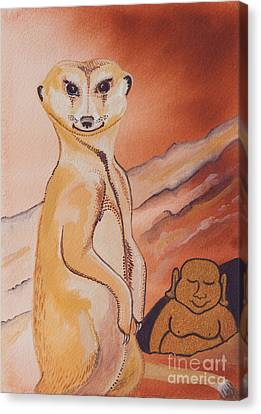 Buddha And The Divine Meerkat No. 2273 Canvas Print by Ilisa Millermoon