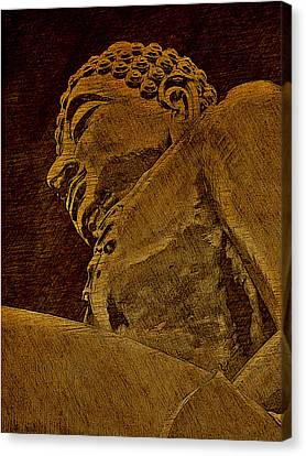 Buddha Sketch Canvas Print - Buddha At The Golden Triangle - Sepia Sketch by Fini Gamundi