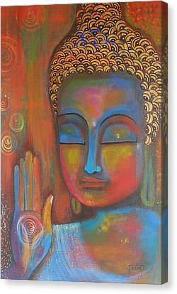Canvas Print featuring the painting Buddha Blessings by Prerna Poojara