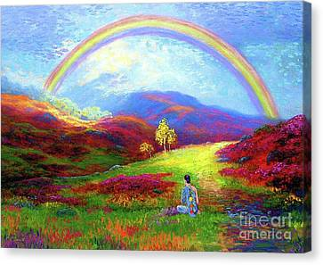 Tranquil Canvas Print - Buddha Chakra Rainbow Meditation by Jane Small