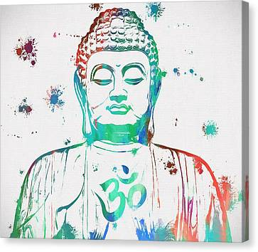 Buddha Color Paint Splatter Canvas Print by Dan Sproul
