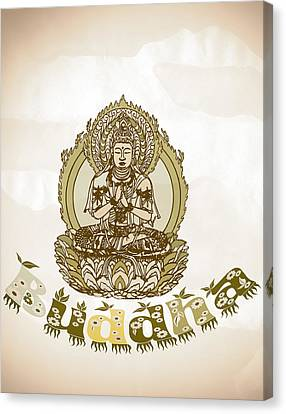 Buddha Drawing - Warm Vintage Style Spiritual Buddhism  Art Canvas Print by Wall Art Prints