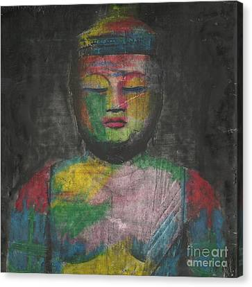 Buddha Encaustic Painting Canvas Print by Edward Fielding