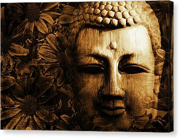 Buddha In Chrysanthemums Canvas Print by Skip Nall