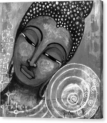 Buddha In Grey Tones Canvas Print by Prerna Poojara