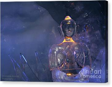 Buddha In Ice Canvas Print by Christine Amstutz