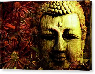 Buddha In Red Chrysanthemums Canvas Print by Skip Nall