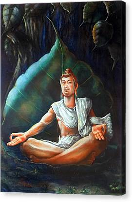 Buddha Meditating On A Leaf Canvas Print by Arun Sivaprasad