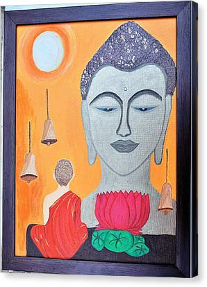 Buddha N Little Monk Canvas Print by Shweta Singh