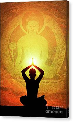 Canvas Print featuring the photograph Buddha Prayer by Tim Gainey