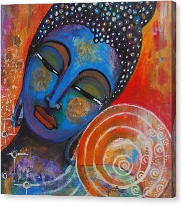 Canvas Print featuring the painting Buddha by Prerna Poojara