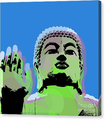Buddha Warhol Style Canvas Print by Jean luc Comperat