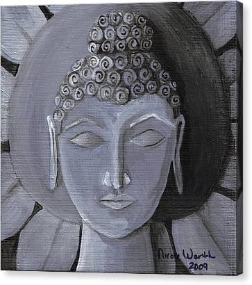 Buddha With A Stone Lotus Canvas Print by Nicole Werth