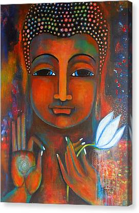 Canvas Print featuring the painting Buddha With A White Lotus In Earthy Tones by Prerna Poojara