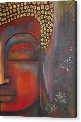 Canvas Print featuring the painting Buddha With Floating Lotuses by Prerna Poojara