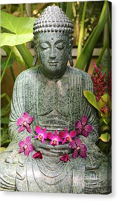 Buddha With Orchids Canvas Print