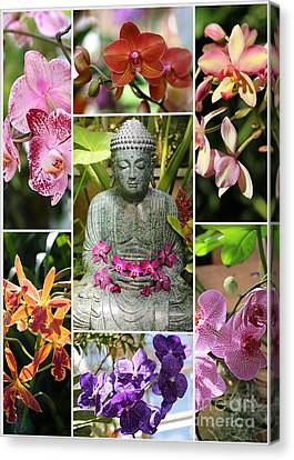 Buddha With Orchids Collage Canvas Print