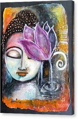 Canvas Print featuring the mixed media Buddha With Torn Edge Paper Look by Prerna Poojara