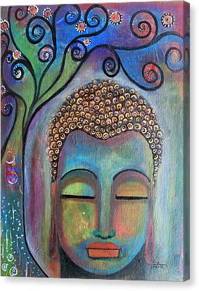 Canvas Print featuring the painting Buddha With Tree Of Life by Prerna Poojara