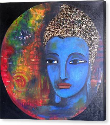 Canvas Print featuring the painting Buddha Within A Circular Background by Prerna Poojara