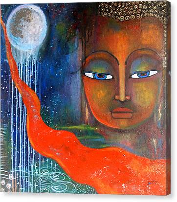 Canvas Print featuring the painting Buddhas Robe Reaching For The Moon by Prerna Poojara