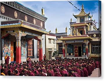 Tibetan Buddhism Canvas Print - Buddhist Monastery In Full Attendance by Nila Newsom