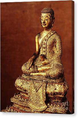 Buddhist Monk Image From The Early 19th Century Canvas Print by Thai School