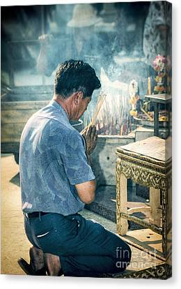 Buddhist Way Of Praying Canvas Print by Heiko Koehrer-Wagner
