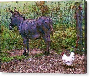 Buddies Take A Walk Canvas Print by Methune Hively